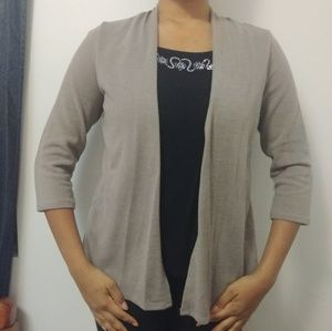 Taupe Color Built-in Cardigan Blouse